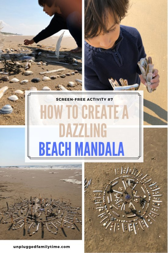 Creating-a-mandala-on-the-beach-Beach-Combing-Beach-Craft-Activity-Unplugged-Family-Time